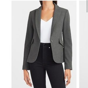 Express one button notch lapel charcoal blazer